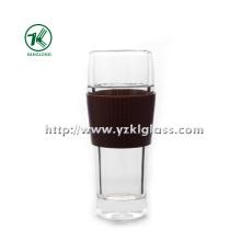 Bouteille en verre double par BV, SGS, (Dia7.7cm, H: 19cm, 390ml)