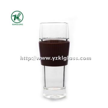 Double Wall Glass Bottle by BV, SGS, (Dia7.7cm, H: 19cm, 390ml)