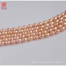 5-6mm Pink Natural Rice Shape Pearl Strand