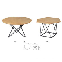 Best Sale Wooden Round Coffee Tables Metal Frame Tea Table Simple Side Table Round End Table