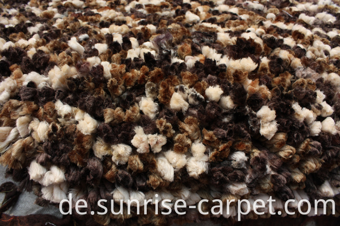 Polyester Shaggy Rug with Space Dyed yarn Brown