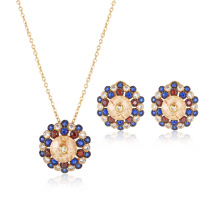 Ensemble de bijoux rond en plaqué or en pierre colorée brillante