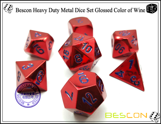 Bescon Heavy Duty Metal Dice Set Glossed Color of Wine-1