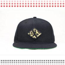 Chapéus acrílicos vazios do Snapback do projeto personalizado com a borda do couro do leopardo