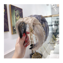 Fashionable Web Celebrity Temperament Hair Band Mesh Sparkler Wide Bow Headband Hair Accessories for Women