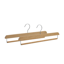 Factory directly adult wooden pants hanger with locking bar for wholesale