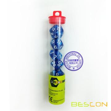 Bescon Polyhedral 7-Die Marble Dice Set - Blue Color in Tube Packing