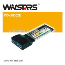 2 port usb 3.0 pcmcia express card with Hot-swapping,USB data transfer rate of 1.5/12/480/5000 Mbps