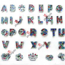 Alphabet en strass multicolore / Pendentifs à diapositives pour bijoux informatiques (SC-26)