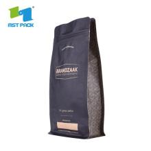 Коробка с крафт-бумагой с плоским дном Сумка 1 кг, черная, с клапаном для кофе