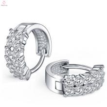 925 Sterling Silver Hoop Double Diamond Earrings For Women