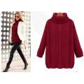 Moda Loose High Neck Estilo Knit Lady Sweater