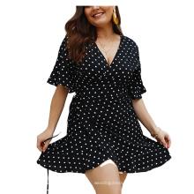 Trumpet Sleeve Casual Plus Size Wrap Ruffles dresses