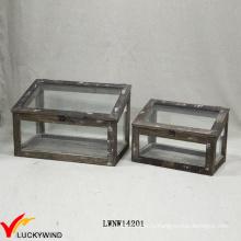 Репродукция ручной работы Chic Display Glass Wood Box