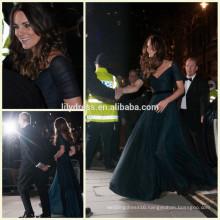 Green Off Shoulder Design Floor Length Custom Make Chiffon Red Carpet Celebration Dresses RD002 celebrity evening dress