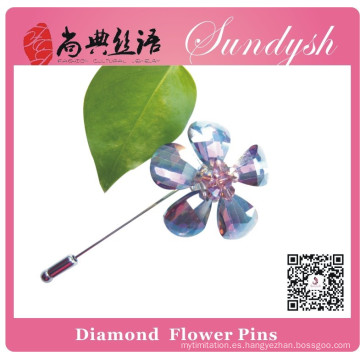 Sundysh Handmade Purple Crystal Flower Brooch