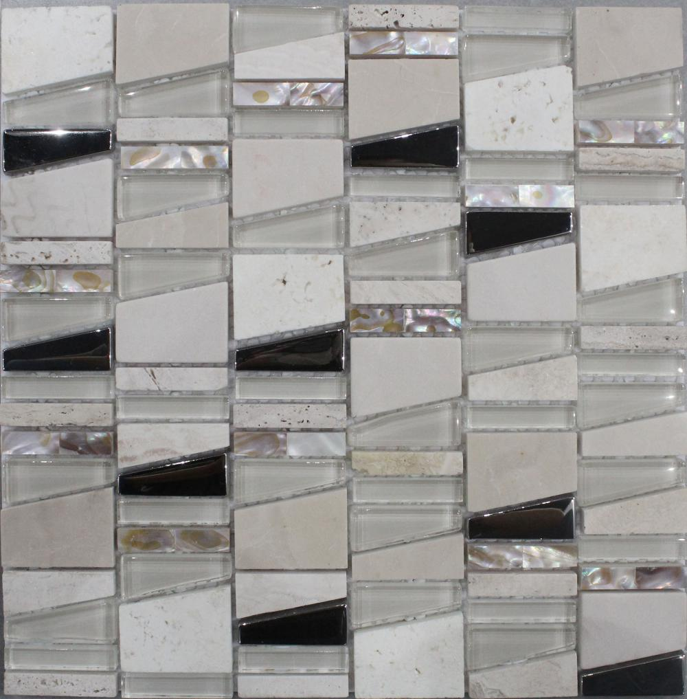 Shell Intersperse Crystal Glass Mosaic Tile