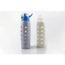 Glass Water Bottle Borosilicate, Bottle Water Glass With Spout Lid, Glass Water Bottle With Silicone Sleeve