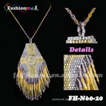 elegante goldene Farbe Perlen Padant Quaste Halsketten