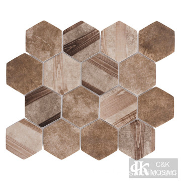 Brown Wood Multi Color Hexagon Mosaik aus recyceltem Glas
