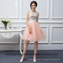 Perlée courte robe bustier couleur tulle robe de bal corail