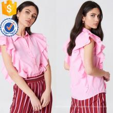 Mignon rose à manches courtes à volants volant chemise d'été haut fabrication en gros de mode femmes vêtements (TA0083T)