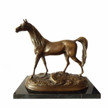 Animal Bronze Sculpture Single Horse Craft Deco Brass Statue Tpal-247