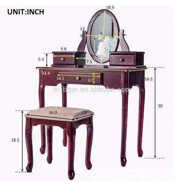 Drawer Mirrored Wooden Dressing Table Designs finish cherry