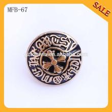 MFB67 Античная латунная высококачественная металлическая тисненая пуговица для джинсов 2см