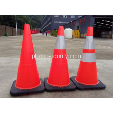 Black Base Flexível Fluorescente Oranfe PVC Road Safety Cones Traffic Cones