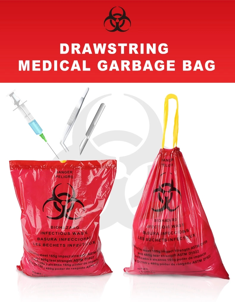 Drawstring Autoclavable Medical Biohazard Waste Bag