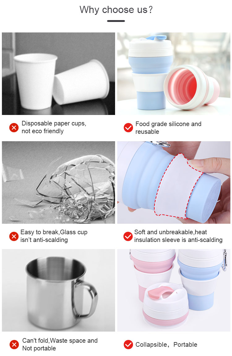 · Safety and health - foldable silicone cups are made of food grade silicone and food grade PP, FDA certificate,BPA free. Smooth inner wall, easy to clean, non - toxic, non - polluting, reusable. · Made from the same food-grade silicone as baby pacifiers; taste- and odourless, 100% BPA free, user-friendly, extremely heat & cold resistant, dishwasher & freezer safe · Our Reusable silicone coffee cup can customized LOGO ,color ,package as you want .So you can print your personal logo. · Kean folding cup suitable for all cold and hot drinks, soup or snacks; they will do very nicely as a wine camping cup or an unbreakable cup for kids or toddler; t`s a must have for hiking trips, vacations, office & school lunch, picnics, scout outings & sport events; ideal for having a safe, hygienic drink at a public water fountain, in your hotel room or camp site · Safe & Leakproof - Food grade silicone and BPA free material mean safe and healthy use for the whole family. uniquely designed airtight silicone seal effectively prevents leaks.