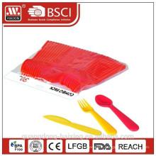 fourchette en plastique de grade alimentaire jetable, couteau, coutellerie cuillère pour promotion