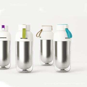 Bunte Wärmedämmungs-doppel-wandige Flasche mit anhebendem Seil