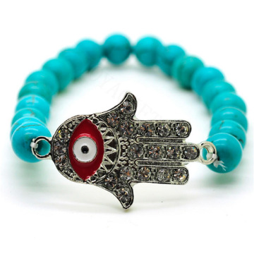 Turquoise 8MM Round Beads Stretch Gemstone Bracelet with Diamante Evil eye Piece