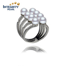 Bague de perles naturelles cultivées en gros 4.5-5mm 925 Sterling Silver Real Pearl Ring