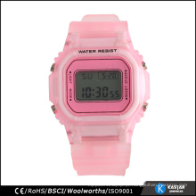 Relógio traseiro de aço inoxidável relógio plástico resistente à água para esporte 3ATM níquel livre