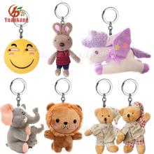 Custom Animal Key Chain Owl Dragon Shark Monkey Rabbit Koala Giraffe Unicorn Elephant Bunny Emoji Teddy Bear Lion Plush Keychain
