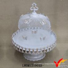 Белая сетка бабочки Обложка металла Свадебный торт стенд
