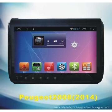 Système Android Navigation GPS pour Peugeot2008 2014 avec lecteur DVD de voiture