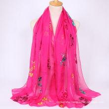 2017 fashion trend lightweight summer long embroidered chiffon women scarf shawl beach scarf