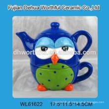 Chaleira de chá cerâmica colorida popular do projeto da coruja com copo