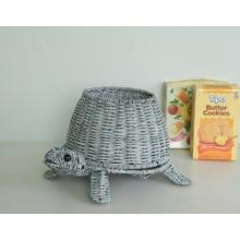 vaso de decoração de tartaruga artesanal de rattan cinza