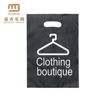 100% Biodegradable Custom Micron Logo Printed Clothing Packaging Reinforced Plastic Die Cut Punch Handle Bag