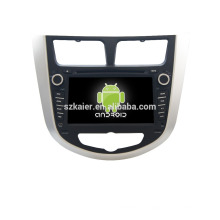 Cuatro núcleos! DVD de coche con espejo enlace / DVR / TPMS / OBD2 para pantalla táctil de 7 pulgadas de cuatro núcleos 4.4 sistema Android Hyundai Verna / Solaris