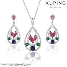 63924 moda elegante colorido zircão cúbico em forma de coração conjunto de jóias de casamento em cor ródio