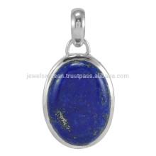 Lapis Lazuli Gemstone & 925 Sterling Silver Bezel Set Pendente encantador para todas as ocasiões