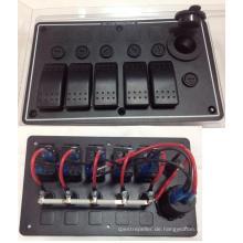 5 Gang Aluminium Wippschalter Panel / USB Steckdose für Boot / Marine / RV
