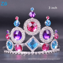 Colored Crystal Pageant Crown Customized Tiara wedding tiara queen crown for sale