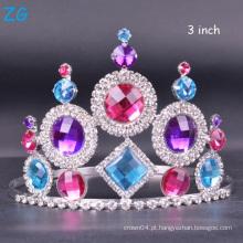 Coroa de cristal colorida da representação de coroa personalizou a coroa da rainha da tiara do casamento da tiara venda